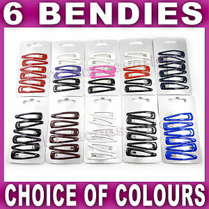 6 x Hair snap clips bendies sleepies slides 4.5cm sleepies school colours,choice