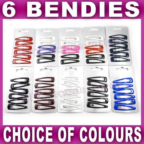 6x Hair snap clips bendies sleepies slides 4.5cm sleepy tic tac school colours