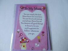 """Wallet Sized Keepsake Card, """"To My Mum"""". Free P&P"""