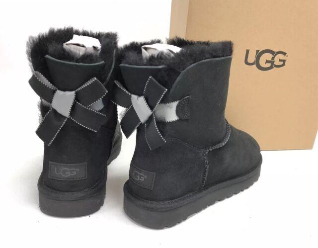 c339444668d UGG Women's 8 Mini Bailey Bow II Shimmer Boot Black 1102938