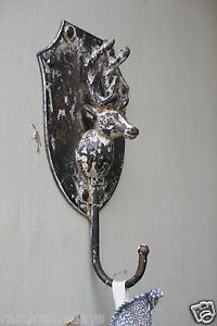 Chipped-paint-finish-Deer-wall-plaque-trophy-hook
