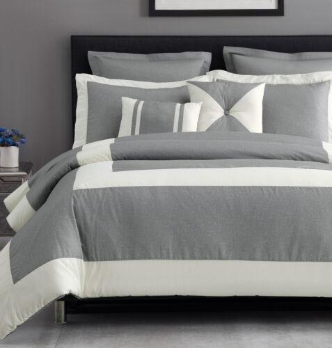 Chaz 100% Microfiber Grey Linen Textured Printing Down Alternative Comforter Set