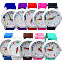 GENEVA Unisex Silicone Rubber Jelly Gel Quartz Analog Sports Women Wrist Watches