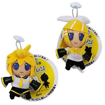 "2pcs Set Hatsune Miku Kagamine Rin Len 10cm / 4"" Soft Plush Stuffed Doll Toy"