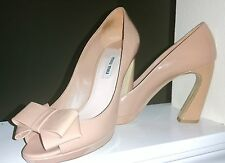 MIU MIU Prada Patent Leather  Open Toe Platform Bow Pump Shoes Nude 37,37.5
