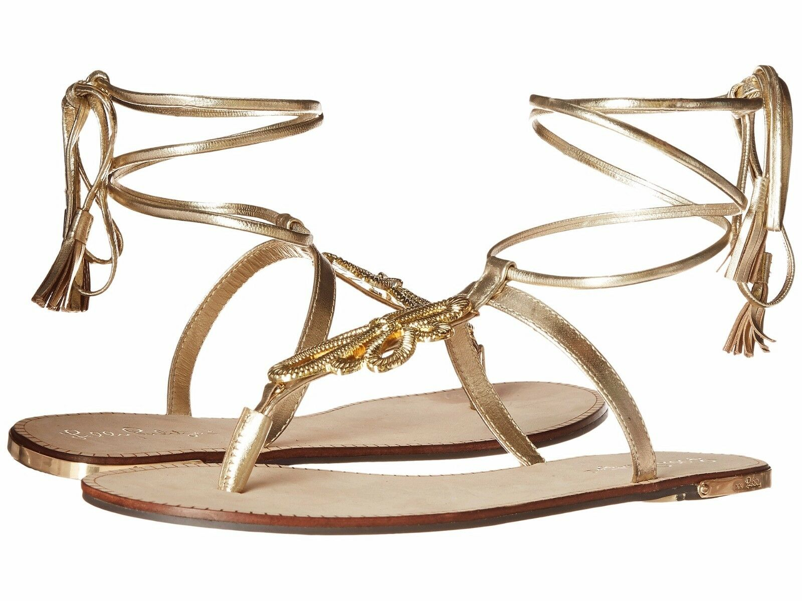 New Lilly Pulitzer Pier Strappy Gladiator Flat Sandals gold Leather 10