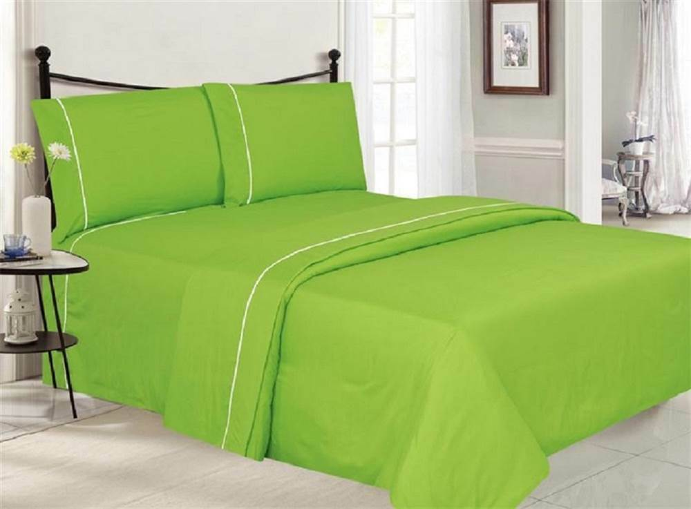 4-Pc Ultra Luxe Double Brushed Sheet Set in Lime [ID 3678789]