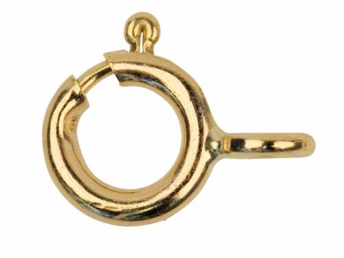 1 X 375 9ct Oro Amarillo Anillo Abierto 6mm Perno Sujetador fabricación de joyas broche de oro
