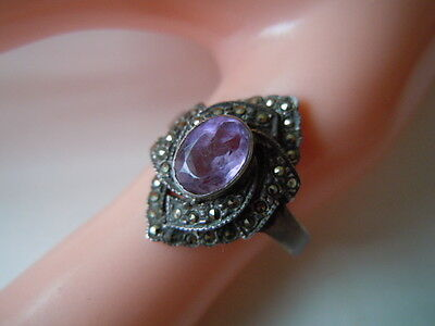 Edler 925 Silber Ring Mit Markasiten Und Amethyst Gr 55/ 3,4 G Factories And Mines Precious Metal Without Stones Fine Jewelry