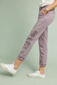 ANTHROPOLOGIE-Relaxed-Floral-Embroidered-Chino-Pants-NwT-25-28-31-0-6-12