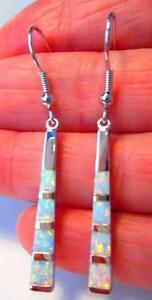 UK-SELLER-Silver-Rhodium-Plated-WHITE-FIRE-OPAL-LONG-DROP-Earrings-30x5mm