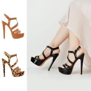Onlymaker Women's Sexy Ankle Strap Platform Open Toe Slingback Stilettos Sandals