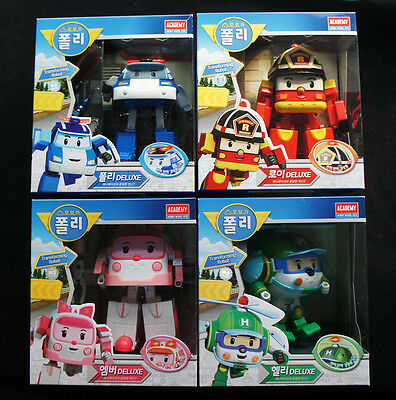 Robocar Deluxe Poli Roy Amber Helly Transforming Transformer figures 4pcs set