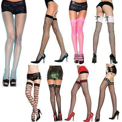 Plus/Reg Fishnet Diamond Net Thigh High Seamless Stockings Pantyhose Tights
