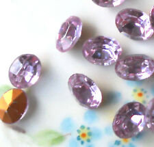 #223 Vintage Rhinestones Oval Light Amethyst Violet Foil Pointed Back 10 X 8mm