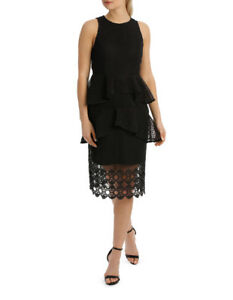 NEW-Jayson-Brunsdon-Black-Label-Peplum-Lace-Teared-Midi-Dress