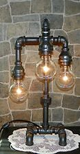 Handcrafted Industrial Pipe Three Tier Lamp steampunk style with vintage bulbs