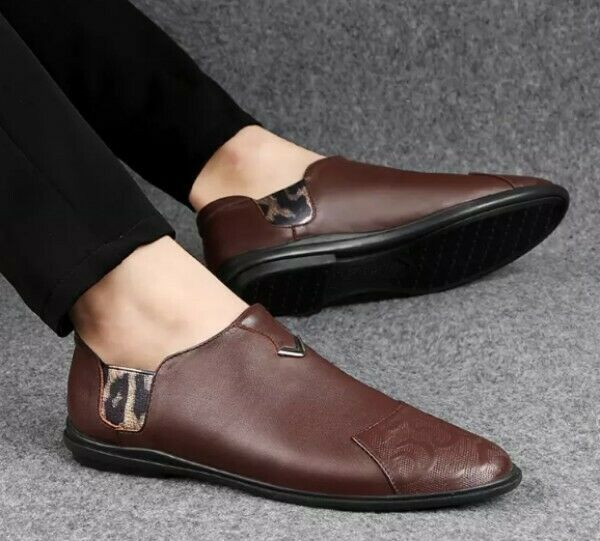 Mens Real Leather Dress Formal Loafers Slip On Driving Casual Fashion Boys shoes