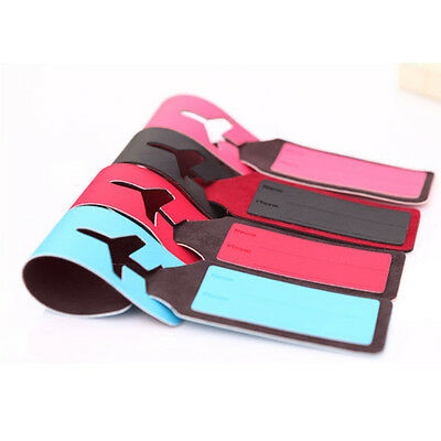 Leather Travel Bag Trip Luggage Suitcase Name Holder Label ID Tags