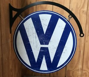 NEW-Volkswagen-VW-Large-Round-with-hanger-tin-metal-sign