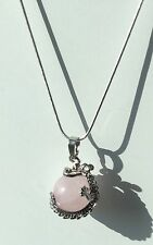 Rose Quartz Dragon Pendant Sphere Necklace Supplied With Cord/Chain Heart Chakra