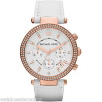 MICHAEL KORS MK2281 Parker Chronograph White Leather Rose Gold Ladies Watch