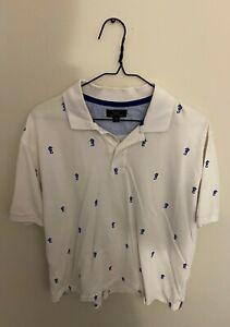 Brooks-Brothers-346-Polo-Golf-Shirt-Mens-M-White-Blue-Short-Sleeve-Seahorse