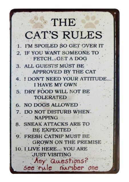 The Cat's Rules country barn pet tin metal sign retro home decor