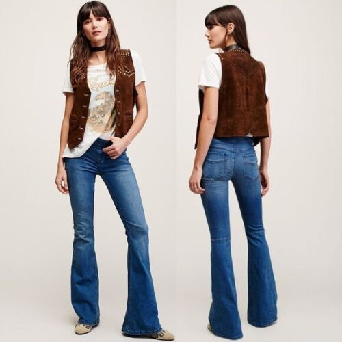 Free People Pull On Kick Flare Jeans Size 25 Bell
