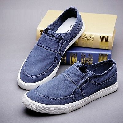 Casual Men's Canvas Loafers Slip On Flats Slippers Fashion Sneakers Board Shoes