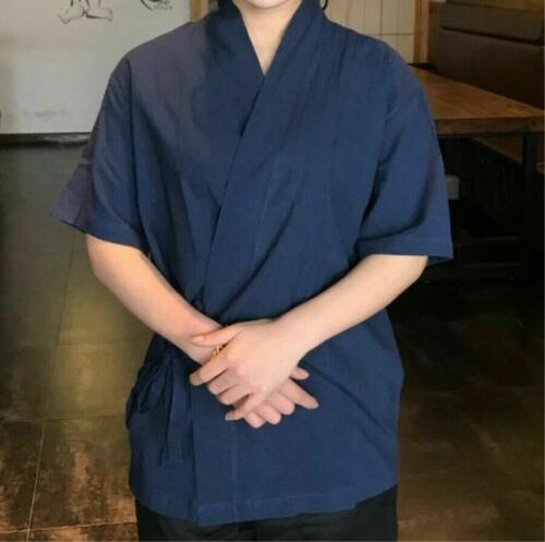 Men Happi Sushi Chef Coat Serving Short Kimono Chef Jacket Cotton Hotel Uniform