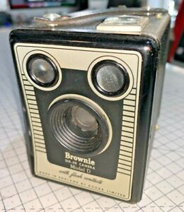 A British-made Kodak Brownie Six-20 Model D Box camera from 1950s, with case