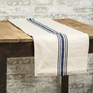Details About New Country Farmhouse Navy Blue Striped Grain Sack Table Runner 32 Primitive