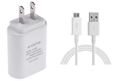Details about 2 AMP WALL ADAPTER+5 FEET MICRO USB CABLE FOR LG STYLO 3,  STYLO 3 PLUS (WHITE)