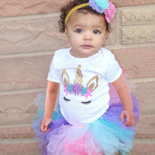 Tutu 1st Birthday Unicorn Party Rainbow Dress Outfits Sets Baby Girl Clothes