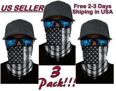 Face Cover Gaiter Unisex Bandana American Flag Headband Tube 3Pack 1Red /& 2Black