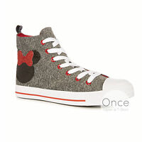Primark Ladies Disney Minnie Mouse Glitter Logo Hi Top Sneakers Trainer Shoes