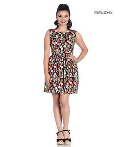 Hell-Bunny-50s-Vintage-Black-Mini-STRAWBERRY-SUNDAE-Dress-Flowers-All-Sizes