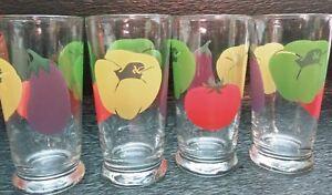 Set-Of-4-Vintage-Libbey-Bonne-Sante-Vegetable-Drinking-Glasses-14-oz