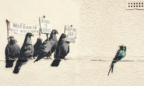 Banksy Anti-immigration Ed.300 Printed Signature Ed.number pencil Italy
