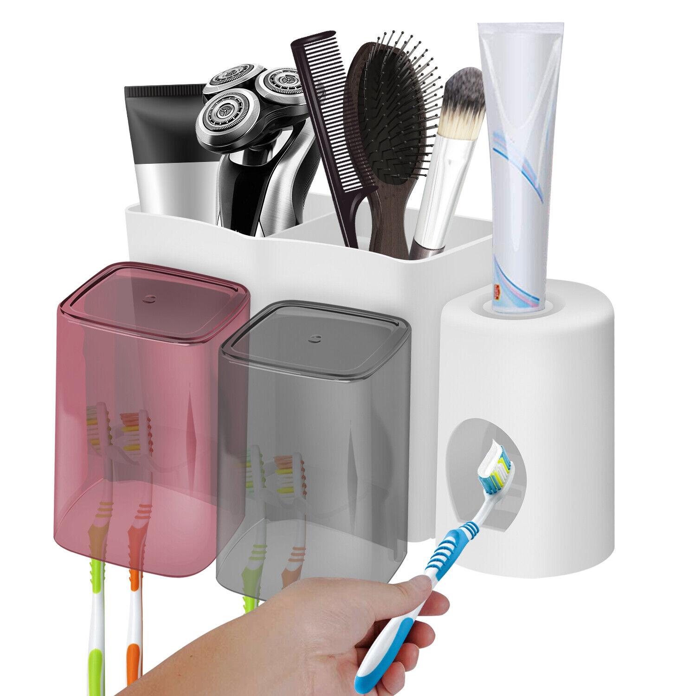 Bathroom Toothbrush Holder Wall Mount Cup Toothpaste Storage Organizer  USA
