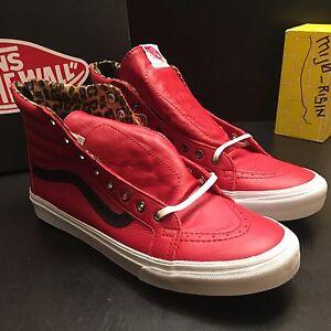 4aa683e32aeef4 NEW Vans Leather SK8 Hi Slim Zip Red Leopard Men s Size 9.5