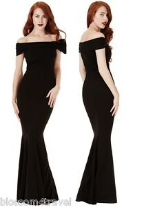 Goddiva-Black-Bardot-Bow-Shoulder-Fishtail-Maxi-Evening-Dress-Prom-Party-Ball