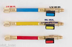 R410a-Manifold-Gauge-Tool-System-Port-Adapter-Ball-Valve-5-16-to-1-4-HVAC-3-Set
