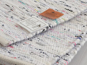 Weiss-Chindi-Teppich-Teppich-Laeufer-Handgefertigt-Recycelt-Baumwolle-90x60cm-3x2