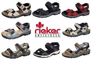 751382231cc0 Das Bild wird geladen Damen-Trekking-Sandalen-Rieker-Beige-Rot-Schwarz-Blau-