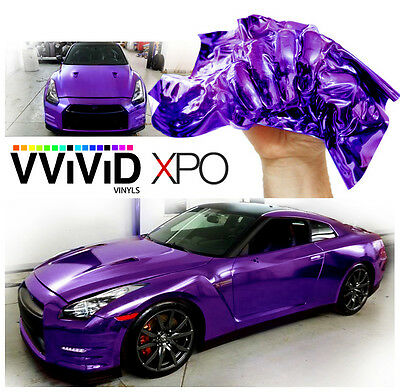 "Vvivid 3/"" x 4/"" sample purple supercast chrome vinyl car wrap sticker"