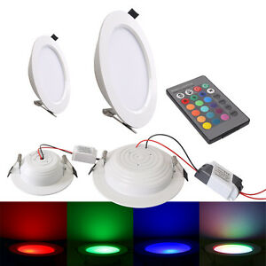 farbwechsel 5w 10w rgb led licht panel lampe einbau deckenleuchte mit remote ebay. Black Bedroom Furniture Sets. Home Design Ideas