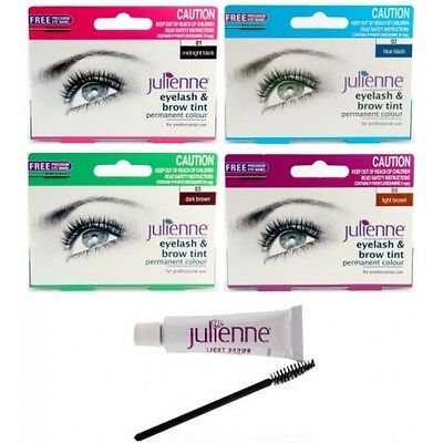 Julienne PERMANENT Professional Eyelash And Eyebrow Tint - FREE Applicater Brush