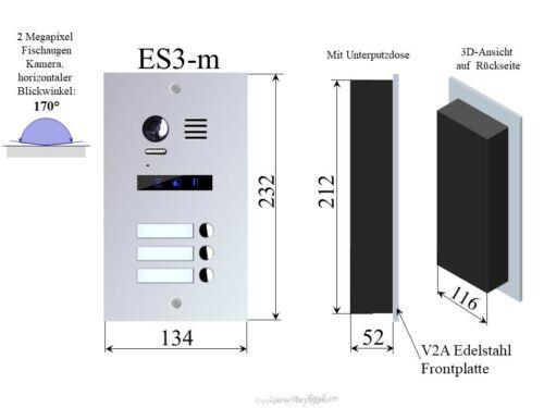 Video Türsprechanlage Gegensprechanlage 2Draht Türklingel 3Familienhaus ES3m 27W